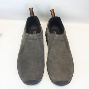 Merrell Jungle Moc 9.5M Gray Suede Loafer Mens